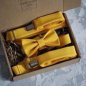 """Галстуки ручной работы. Ярмарка Мастеров - ручная работа Бабочка+подтяжки """"Желтый"""". Handmade."""