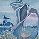 Фантазийные сюжеты ручной работы. Картина Фламенко Побережья выполненная на шелке в технике батика. Мария. Ярмарка Мастеров. Побережье, чайки
