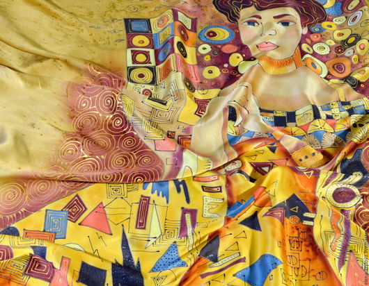 Шали, палантины ручной работы. Ярмарка Мастеров - ручная работа. Купить Платок шелковый батик Золотая Адель. Handmade. Золотой