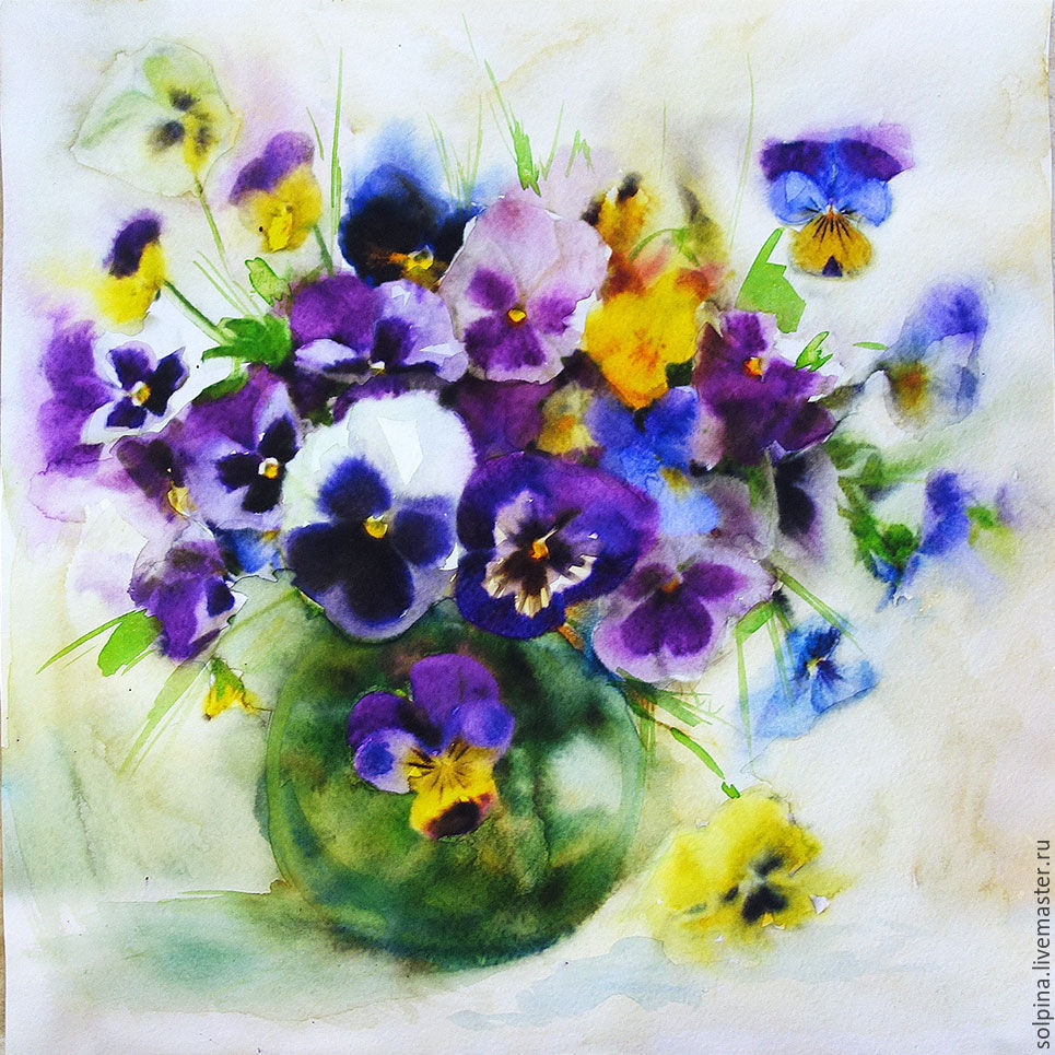 Pansy watercolor shop online on livemaster with for Buy mural paintings online