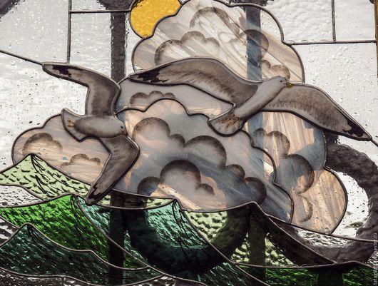 """Пейзаж ручной работы. Ярмарка Мастеров - ручная работа. Купить Витраж """" Навстречу ветру"""". Handmade. Морской пейзаж"""
