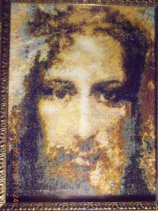 Люди, ручной работы. Ярмарка Мастеров - ручная работа. Купить вышивка бисером икона  Иисус Христос плащаница. Handmade.
