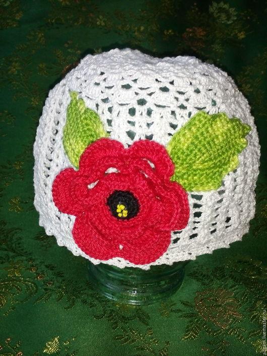 Шапки и шарфы ручной работы. Ярмарка Мастеров - ручная работа. Купить шапочка для девочки. Handmade. Белый, 100% мерсеризованный хлопок