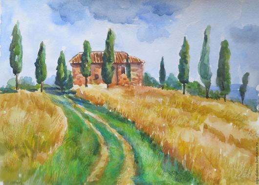 Пейзаж ручной работы. Ярмарка Мастеров - ручная работа. Купить Солнечная Тоскана. Handmade. Желтый, летний пейзаж, бумага