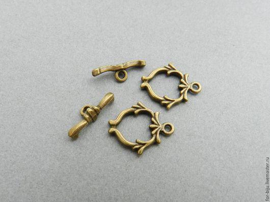 Замок застежка для украшений тоггл под Бронзу, размер длинной части 17,4 мм, застежка  18.9*16 мм (арт. 1730)