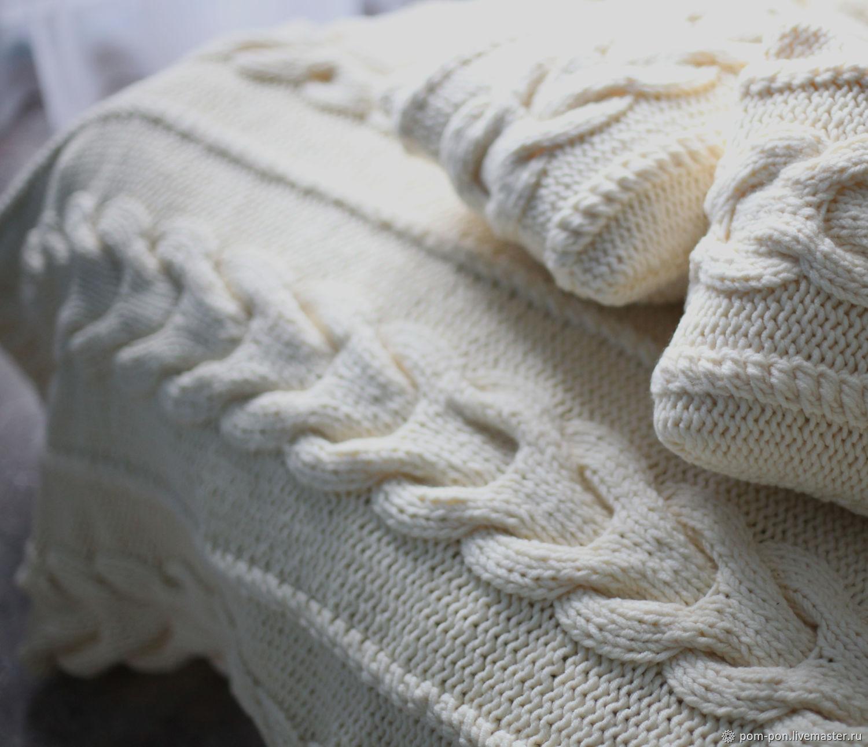 Вязаные плед и подушки для спальни Cream, Пледы, Волгоград,  Фото №1