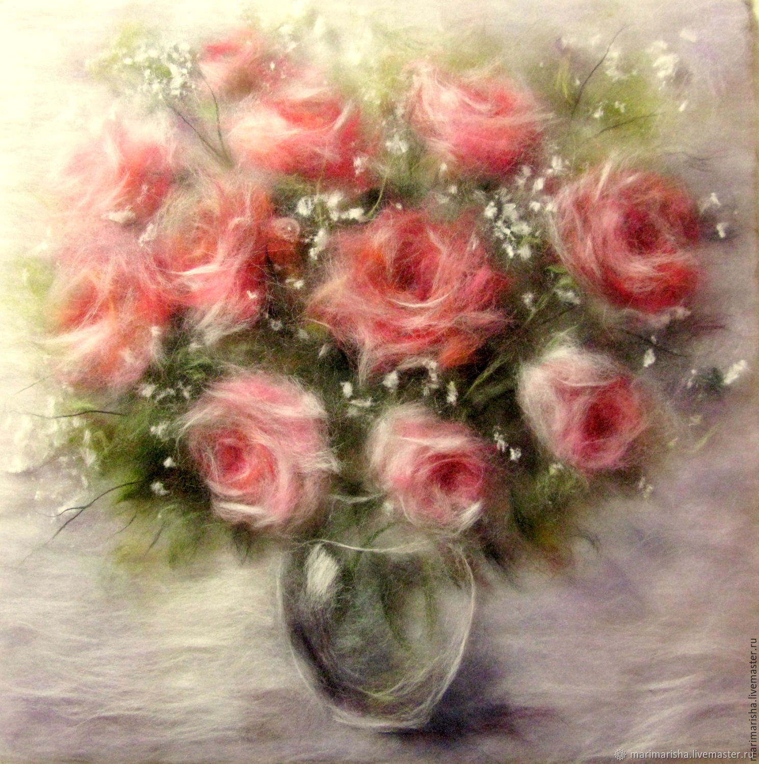 Picture of wool. Dusty roses.  The author's work, Pictures, St. Petersburg,  Фото №1