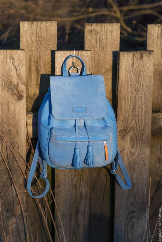 Рюкзаки ручной работы. Ярмарка Мастеров - ручная работа. Купить Рюкзак кожаный женский, голубой, 9 литров. Handmade. Однотонный