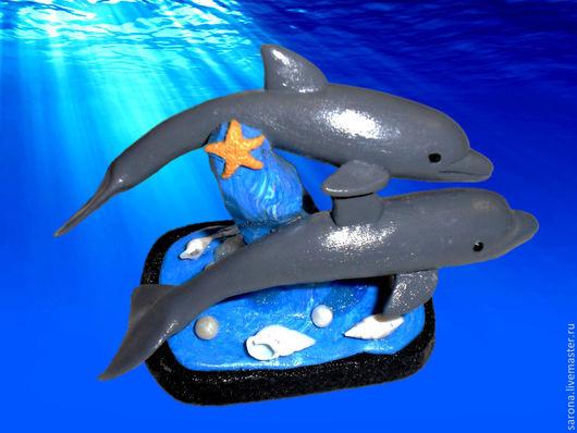 Миниатюрные модели ручной работы. Ярмарка Мастеров - ручная работа. Купить Пара дельфинов. Handmade. Синий, подарок, дельфины