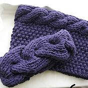 Аксессуары handmade. Livemaster - original item Knitted set headband and Snood Purple with braids. Handmade.