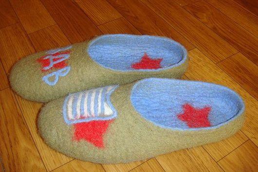 """Обувь ручной работы. Ярмарка Мастеров - ручная работа. Купить тапочки """"ВДВ"""". Handmade. 100% шерсть"""
