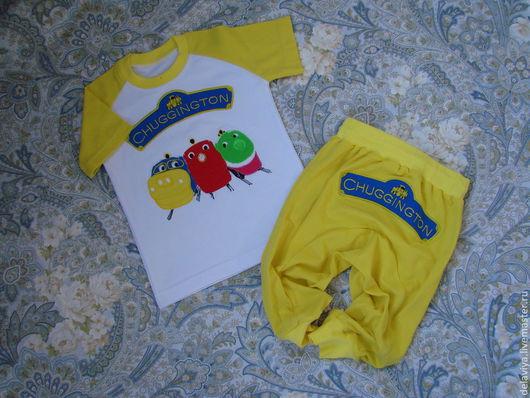 """Одежда для мальчиков, ручной работы. Ярмарка Мастеров - ручная работа. Купить Летний костюм  для мальчика """"Веселые паровозики"""" - 2 желтые. Handmade."""