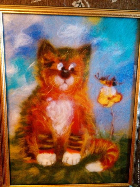"""Животные ручной работы. Ярмарка Мастеров - ручная работа. Купить Картина из шерсти """"Давай Дружить?!"""". Handmade. Рыжий, картина с котом"""