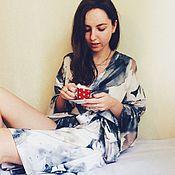 Одежда ручной работы. Ярмарка Мастеров - ручная работа Шелковый халат-кимоно. Handmade.
