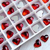 Кабошоны ручной работы. Ярмарка Мастеров - ручная работа 10 мм Light Siam Heart 2808 Swarovski Crystal плоское сердце Сваровски. Handmade.