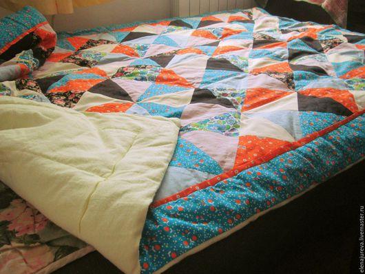 Текстиль, ковры ручной работы. Ярмарка Мастеров - ручная работа. Купить Лоскутное одеялко. Handmade. Разноцветный, хлопок, синтепон, лён