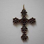 Винтаж handmade. Livemaster - original item Large Cross 5 cm. Bohemian garnets (pyropes) (0125). Handmade.