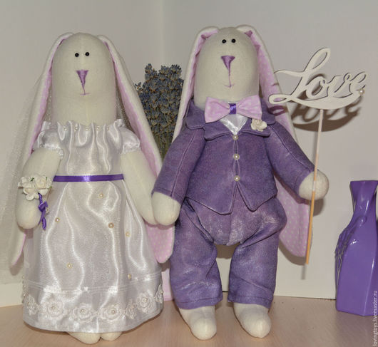 Подарки на свадьбу ручной работы. Ярмарка Мастеров - ручная работа. Купить Свадебные зайцы. Фиолетовое настроение. Handmade. Тёмно-фиолетовый