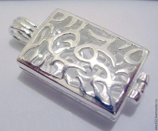 Для украшений ручной работы. Ярмарка Мастеров - ручная работа. Купить Серебро 925 подвеска коробочка 27 х19 мм ажурная. Handmade.