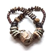 Украшения handmade. Livemaster - original item Boho day necklace. Jasper, wood Robles/grey/ red, black accessories. Handmade.