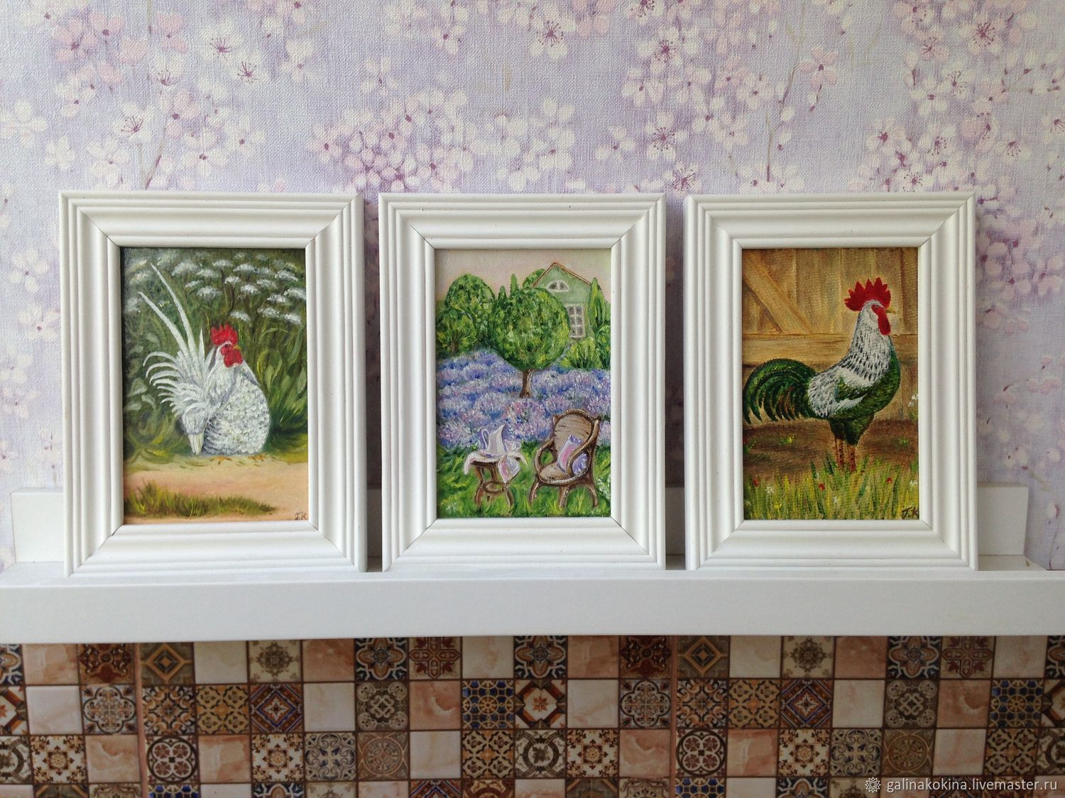 The Country set of three paintings size 10h15sm. each (size without frame). Oil painting, the surface is covered with a transparent lacquer, decorated in wood frame white color.