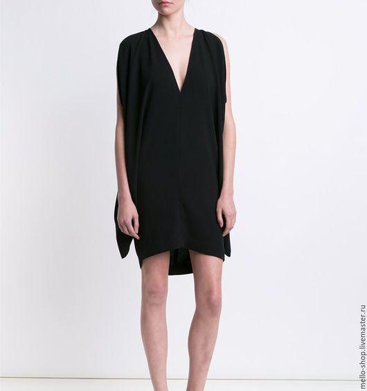 Платье черное женское из крепа вискоза хлопок черное, платье длиной до колен, коктейльное платье комфортное, удобное, платье на каждый день. Коктейльное платье.