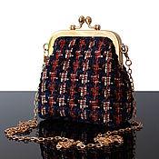 Сумки и аксессуары handmade. Livemaster - original item Bag with clasp: Dark blue Tweed evening bag with clasp. Handmade.