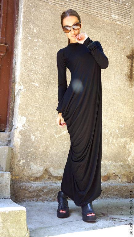 платье длинное платье в пол черное летнее платье платье вечернее