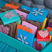 """Картины и панно ручной работы. Ярмарка Мастеров - ручная работа """"Мини-сердце/звезда/снежинка/цветок"""" в технике String Art. Handmade."""