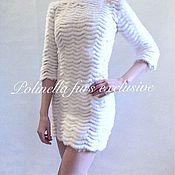 Одежда ручной работы. Ярмарка Мастеров - ручная работа Платье из белоснежной норки на гипюре. Handmade.