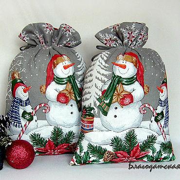 Мешочек для подарка Снеговики