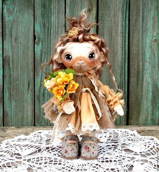 Куклы тыквоголовки ручной работы. Ярмарка Мастеров - ручная работа. Купить Куколка с букетом.. Handmade. Бежевый, подарок девушке, прованс