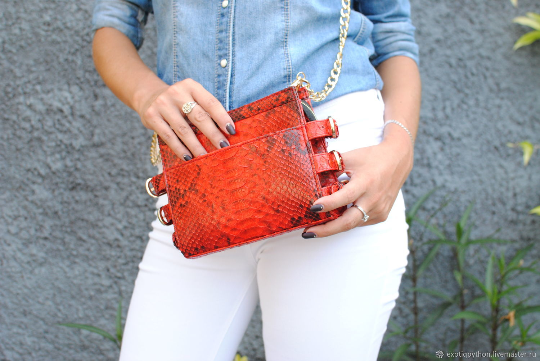 Red Shiny Python leather handbag, Classic Bag, Moscow,  Фото №1