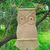 """Картины и панно ручной работы. Ярмарка Мастеров - ручная работа """"Филин Фомка"""", плетёное панно, макраме. Handmade."""