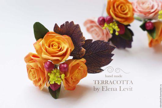Шпильки с цветами из полимерной глины. Terracotta by Elena Levit.