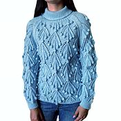 handmade. Livemaster - original item Sweater female Frosty grapes, hand-knitted, bumps, mohair. Handmade.