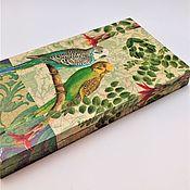 """Шкатулки ручной работы. Ярмарка Мастеров - ручная работа Купюрница """"Волнистые попугайчики"""". Handmade."""