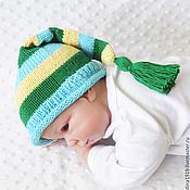 Работы для детей, handmade. Livemaster - original item beanie for a photo shoot hat cap green, yellow, blue. Handmade.
