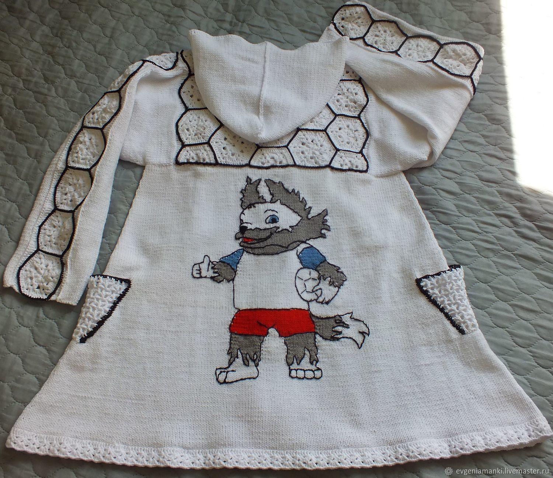 Clothes for Girls handmade. Livemaster - handmade. Buy Summer coat knitted baby Football for girls.White