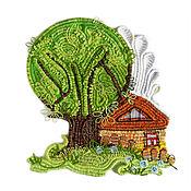 """Картины и панно ручной работы. Ярмарка Мастеров - ручная работа панно """"Дом у дерева"""". Handmade."""