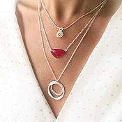 Украшения handmade. Livemaster - original item Scarlet rose necklace, agate, multilayer decoration triple necklace. Handmade.