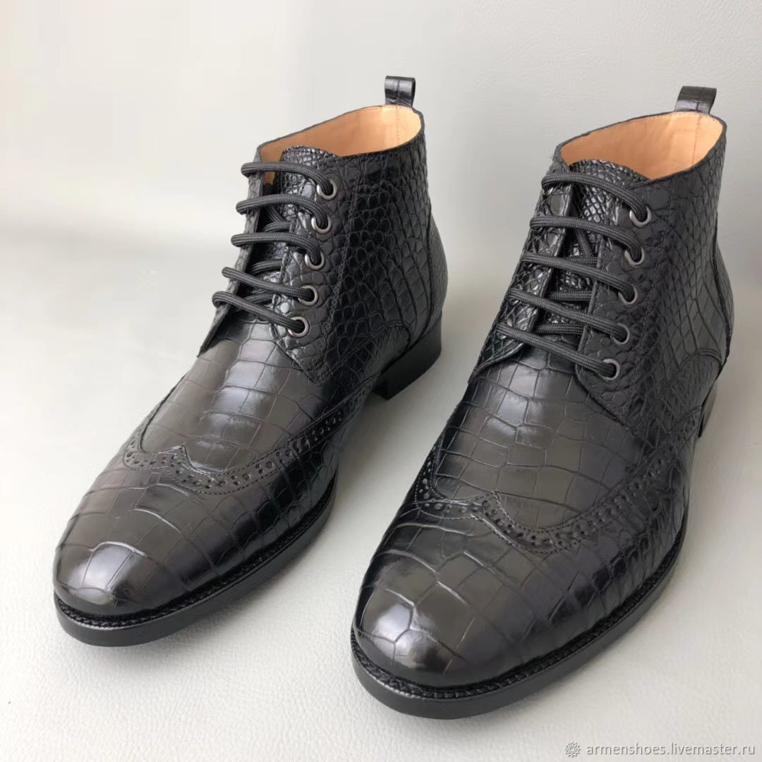 Shoes with brogation made of genuine crocodile leather, in black!, Boots, Tosno,  Фото №1