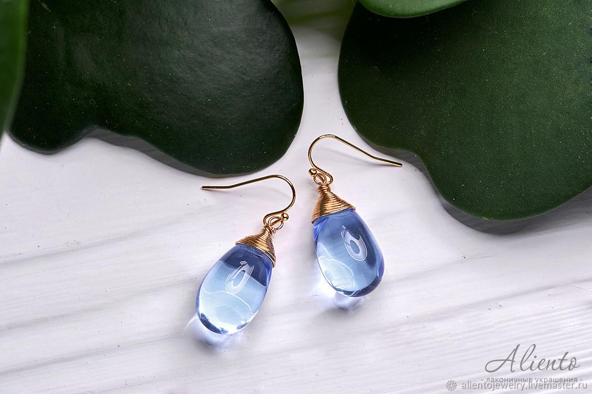 Large blue drop earrings in 24K gold, Earrings, Moscow,  Фото №1