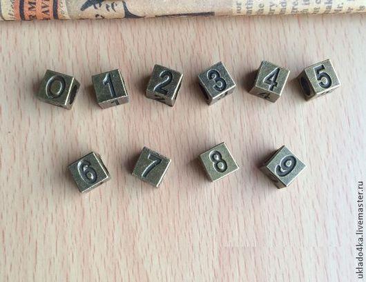 """Шитье ручной работы. Ярмарка Мастеров - ручная работа. Купить Подвеска бронзовая """"Цифры 0-9"""". 2 вида. Handmade."""