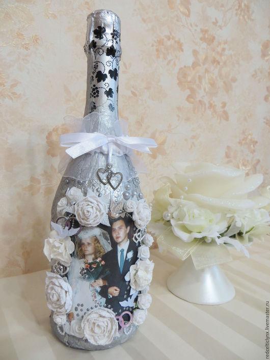 Подарки на свадьбу ручной работы. Ярмарка Мастеров - ручная работа. Купить Шампанское на серебряную свадьбу. Handmade. Серебряная свадьба, шампанское