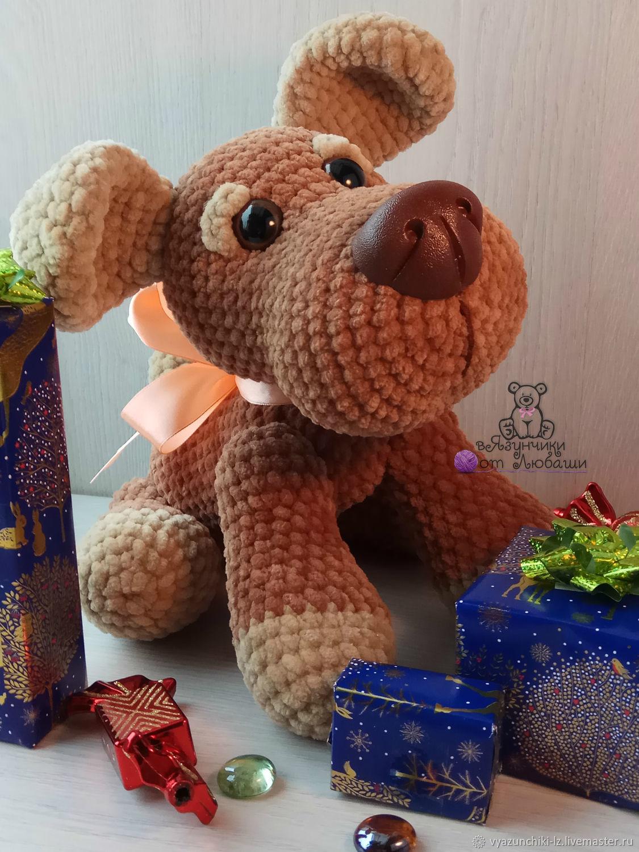 Игрушка собака связанная из плюшевой пряжи собачка игрушка символ года, Мягкие игрушки, Волоколамск,  Фото №1