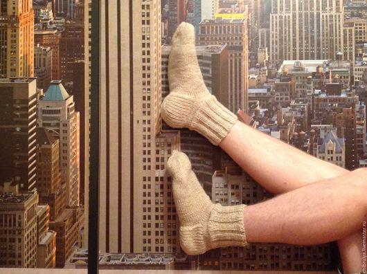 Носки, Чулки ручной работы. Ярмарка Мастеров - ручная работа. Купить Мужские шерстяные носки. Handmade. Белый, подарок мужчине