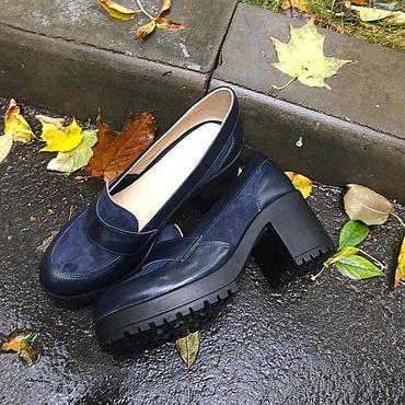 """Обувь ручной работы. Ярмарка Мастеров - ручная работа Туфли """"Лодочки на каблуке"""" синий кожа/замша. Handmade."""