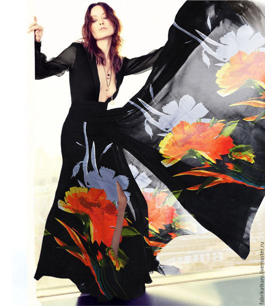 """Шитье ручной работы. Ярмарка Мастеров - ручная работа. Купить шифон """"яркие цветы"""". Handmade. Ткань для шитья, шифон"""