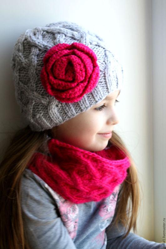 Шапки и шарфы ручной работы. Ярмарка Мастеров - ручная работа. Купить Комплект: шапочка + снуд. Handmade. Серый